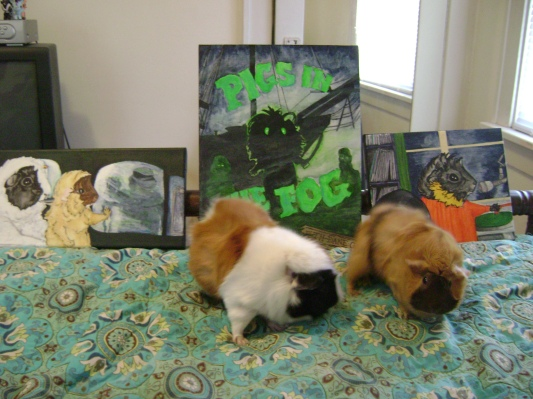 Despite the obvious futility, I always try to photograph the pigs featured in my paintings next to the paintings (unfortunately, neither Merricat nor Danger Crumples were available by the time I finished these). Horace and Ozma are not interested in my work. Of course they aren't. They don't even know I menaced them with leper pirates.