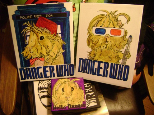 The Danger Who original paintings and Hello Danger.