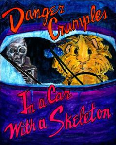 Being both the author and cover star made it seem appropriate to make the titles a bit more literal - Danger Crumples...In a Car with a Skeleton.