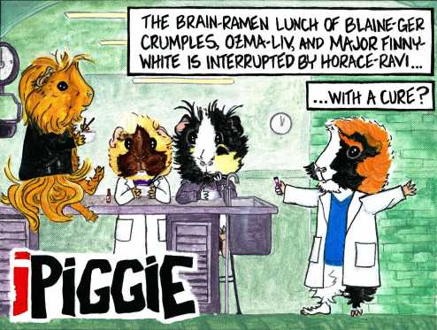 iPiggie - Where I dared to question whether or not guinea pigs would use chopsticks, eat brains, and if Horace would dare to wear a sweater vest. They can do all those things, through the painful magic of painting.